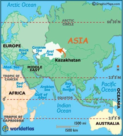 Kazakhstan location on map