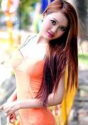pretty Viet babe in an orange dress