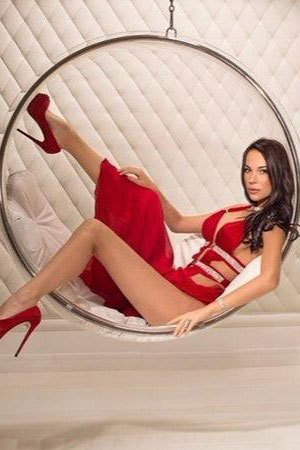 seductive lady in red dress from Belarus