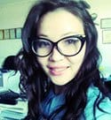 simple Kazakh girl in glasses