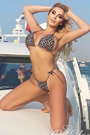 super hot Polish blonde in leopard print two piece