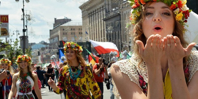 Ukraine girl sending a flying kiss