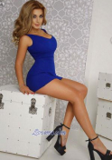 Ukraine girl wearing a blue short dress
