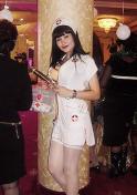 Uzbek girl in a nurse costume