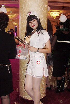 Uzbek girl in a nurse costume