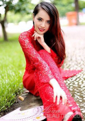 Vietnam babe in a red traditional dress