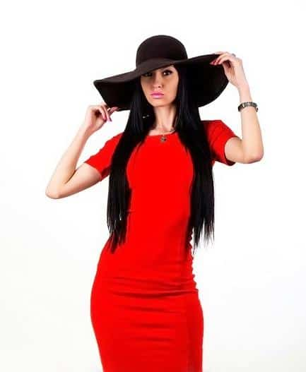 wonderful Ukraine babe in red dress and hat