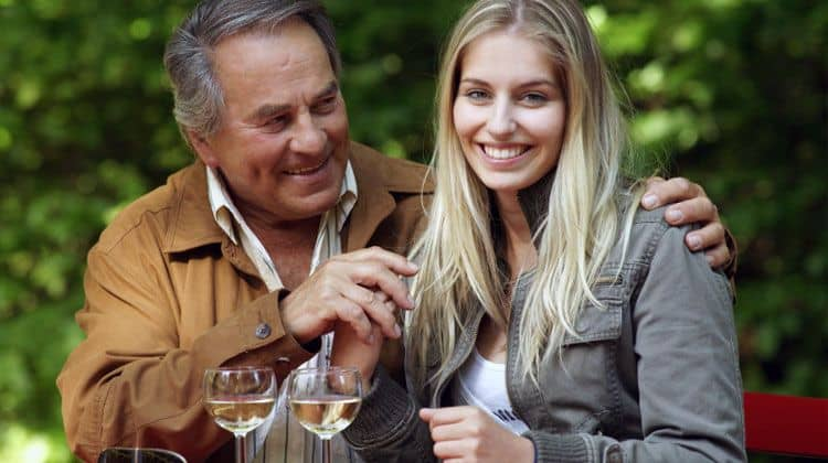 young woman having a date with an older man