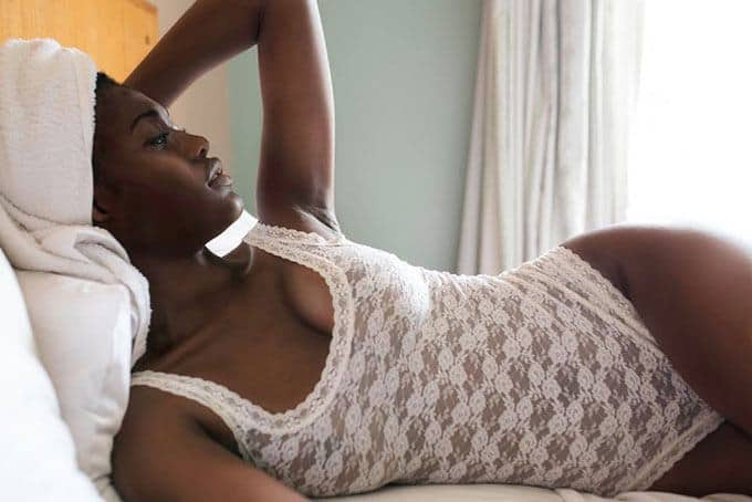 African beauty on the bed