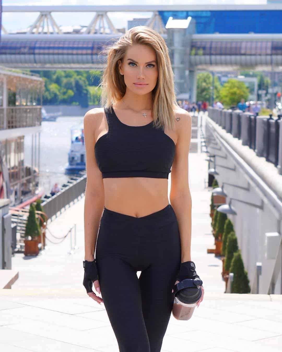 Anella Miller in her fitness suit