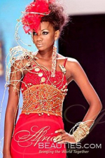 attractive Kenyan model in red