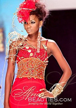 attractive Kenyan model in red