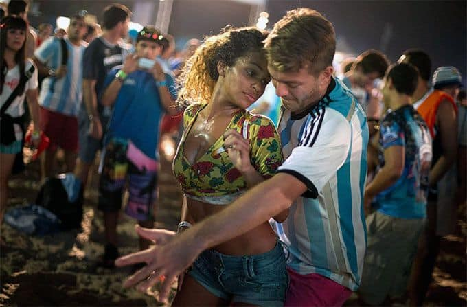 Brazilian woman dancing with partner
