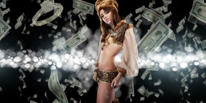 girl surrounded with money