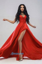 gracious Ukraine babe in a red long gown