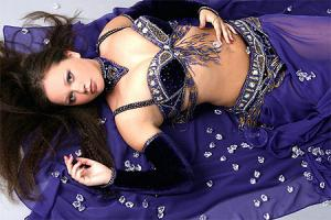 Latvian girl in a belly dancing outfit