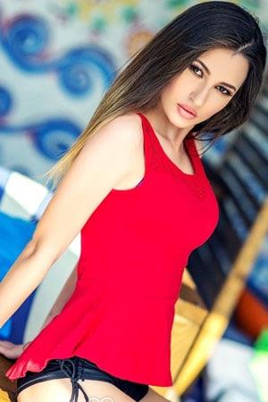 lovely Ukraine girl in red sleeveless tops