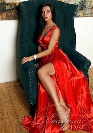luscious Russian lady in a red gown