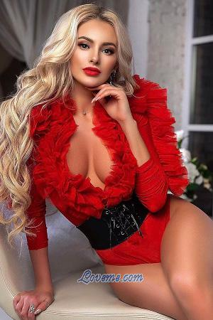 Ukrainian blonde in sexy red outfit