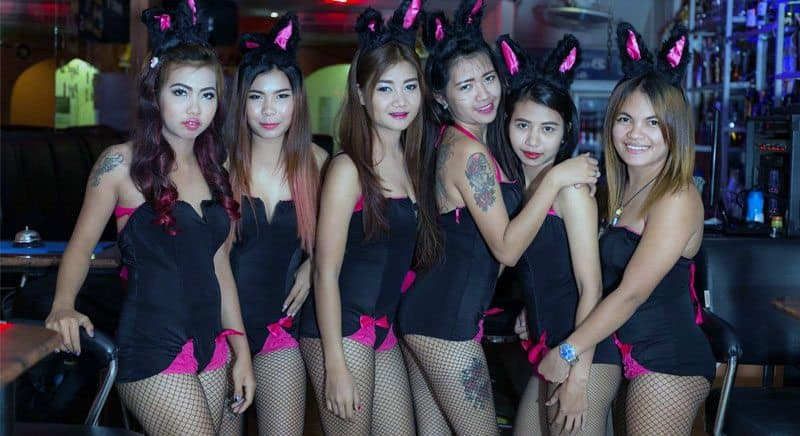cute Thai Bargirls with bunny ears