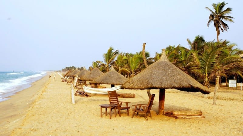 a calm beach resort in Benin