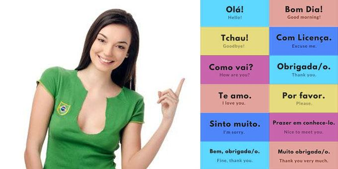Brazilian girl pointing at Portuguese words