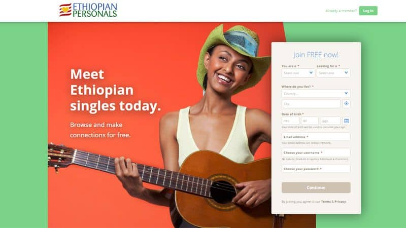 Ethiopian Personals website