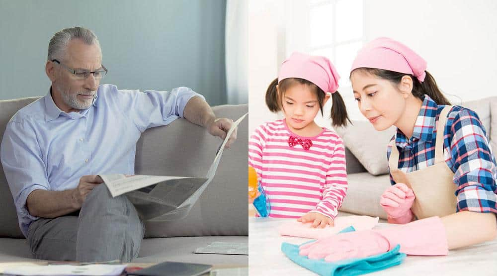 man reading newspaper and Asian girl doing chores