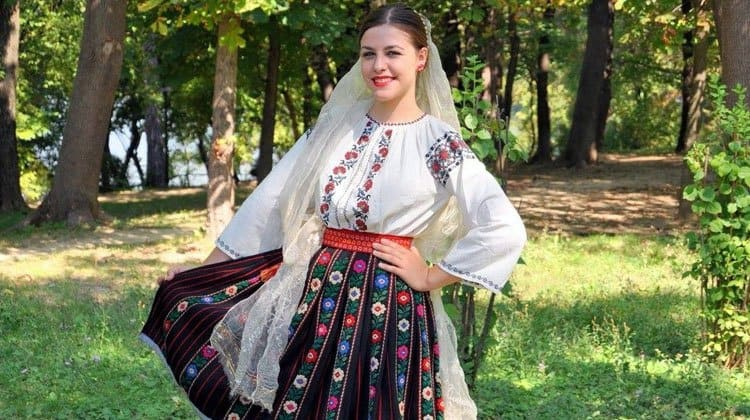 Moldovan girl wearing traditional dress
