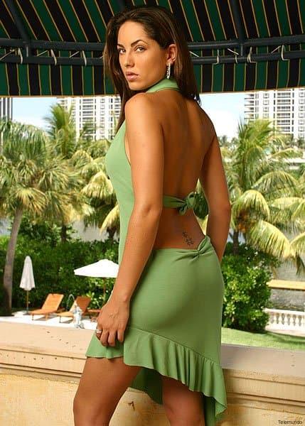 Barbara Mori sexy green dress