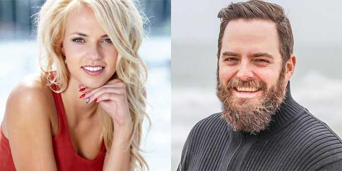 blonde Ukraine girl and bearded middle-aged man