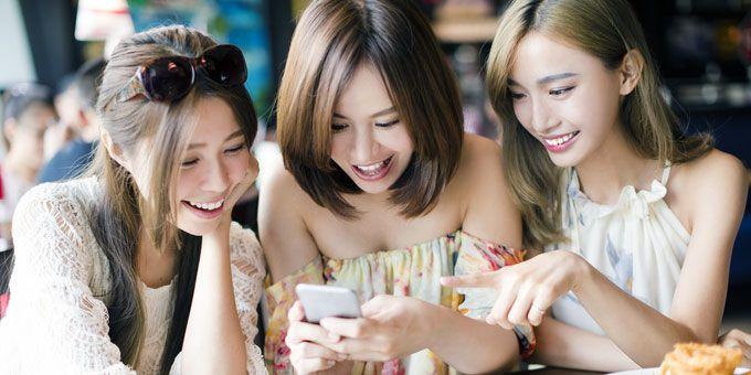 cute Japanese women looking happy