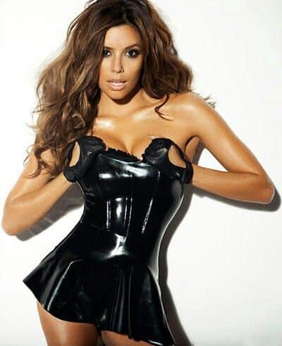 Eva Longoria in black leather dress