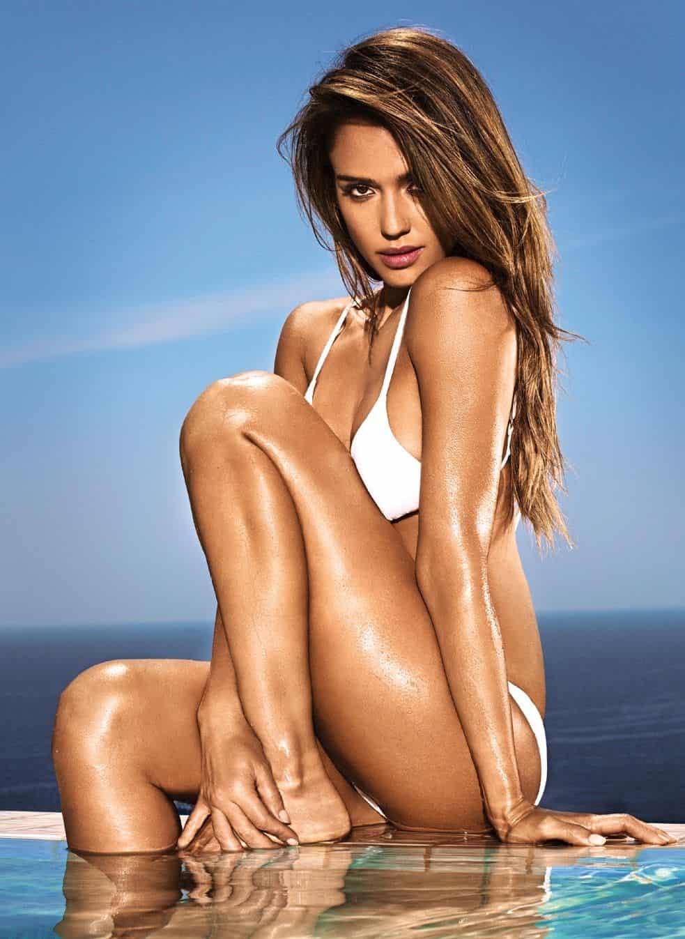 Jessica Alba in white bikini