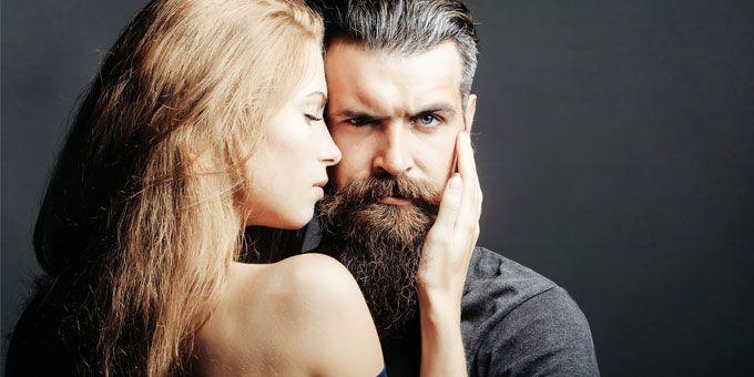 masculine man and a slim blonde girl