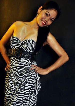 Filipina babe wearing a zebra printed dress