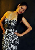 Filipina girl wearing a zebra printed dress