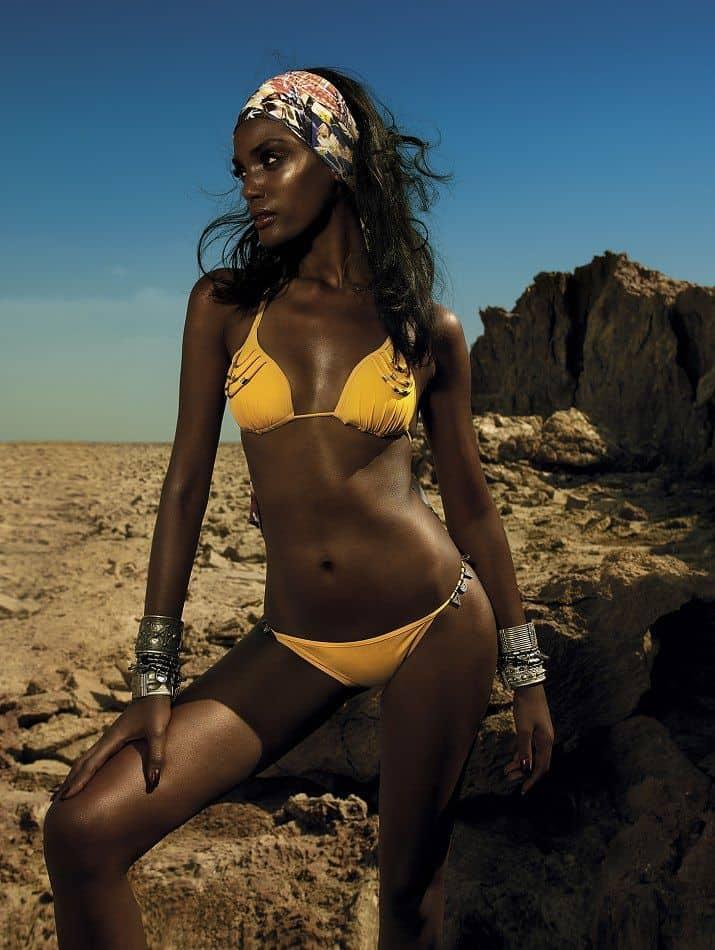 Israela Avtau in yellow bikini