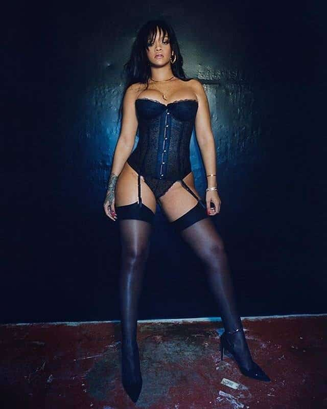 Rihanna in black sexy lingerie