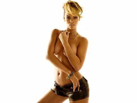 Rihanna topless and denim jeans