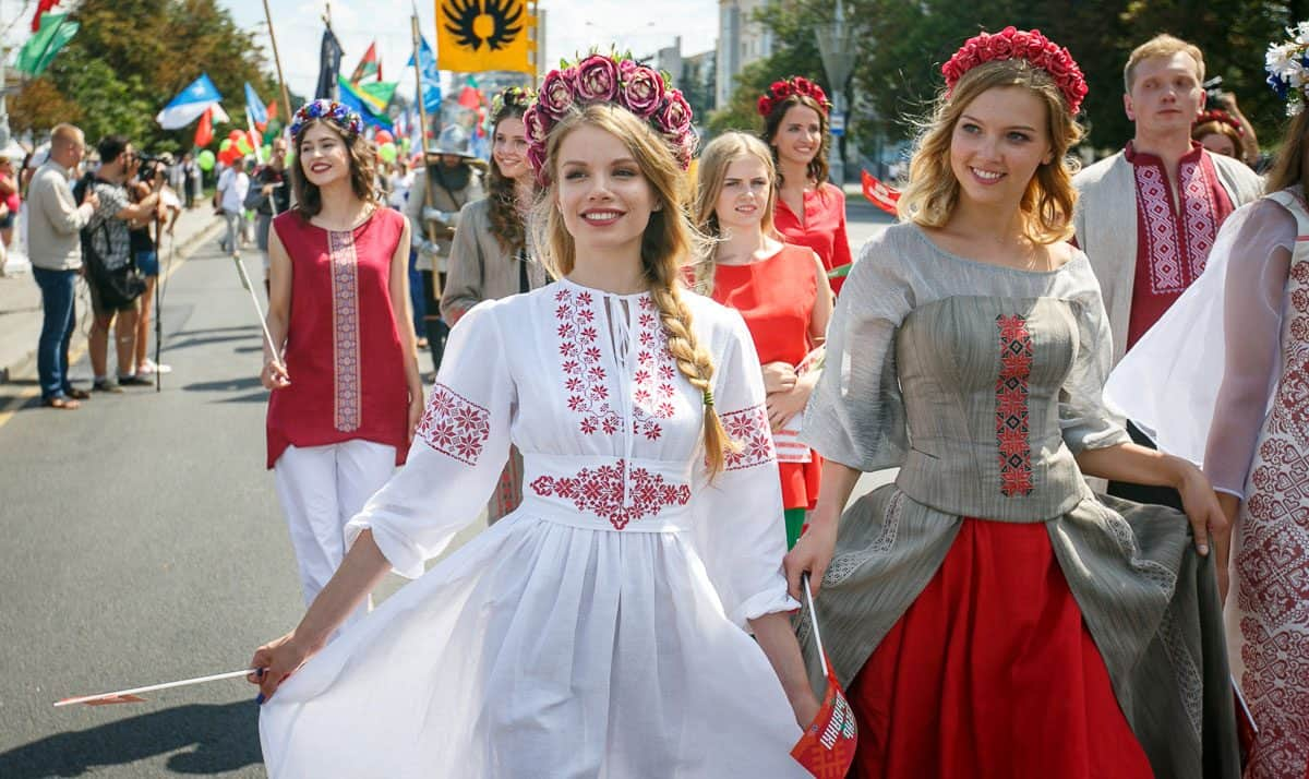 Beautiful young Belarusian women in parade
