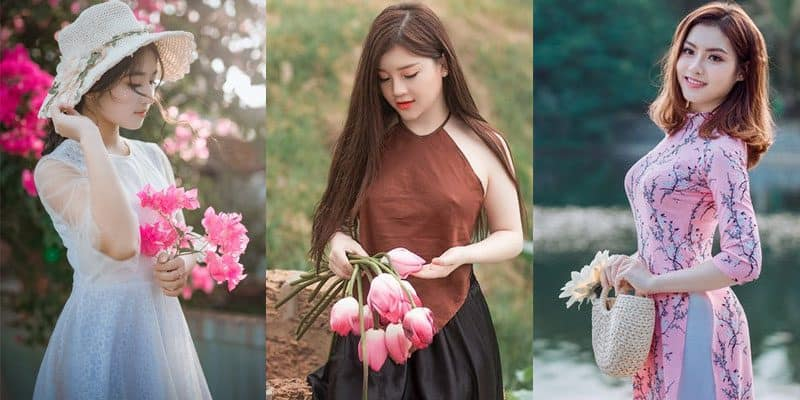 cute Chinese women holding flowers
