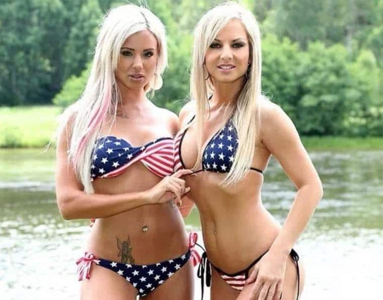 Sexy Blonde girls with American flag bikinis