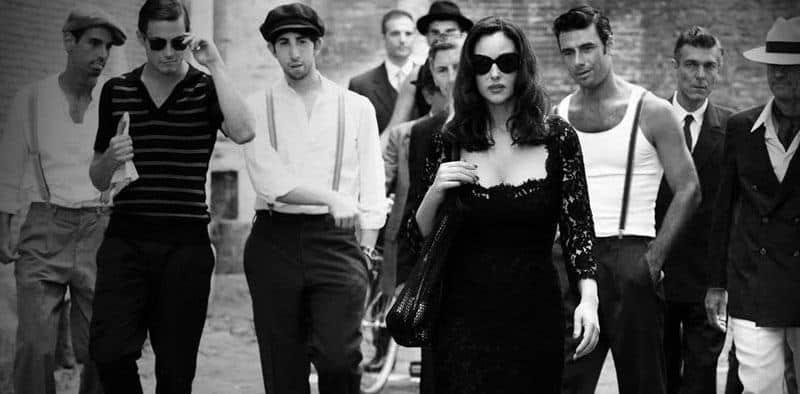 Group of men watching beautiful Italian woman