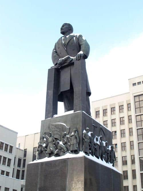 Lenin still stands tall in front of the Belarus parliament building in Minsk