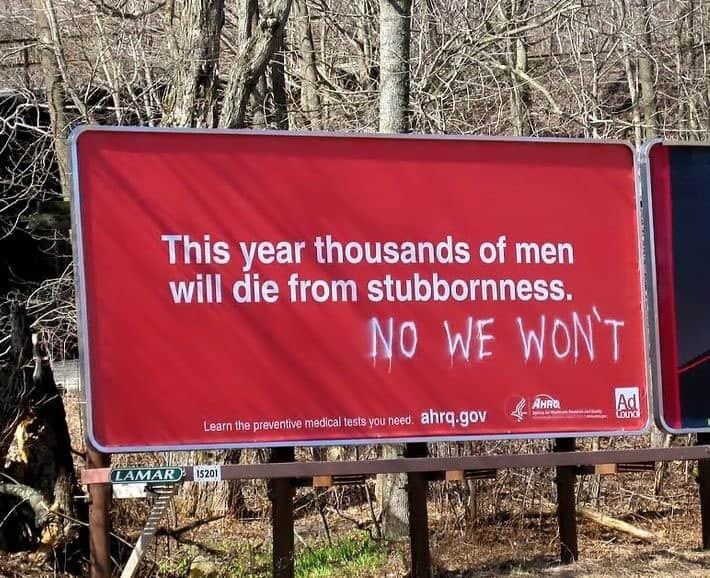 Men are stubborn road sign