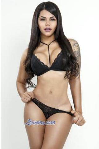 sexy Colombian model in black bikini