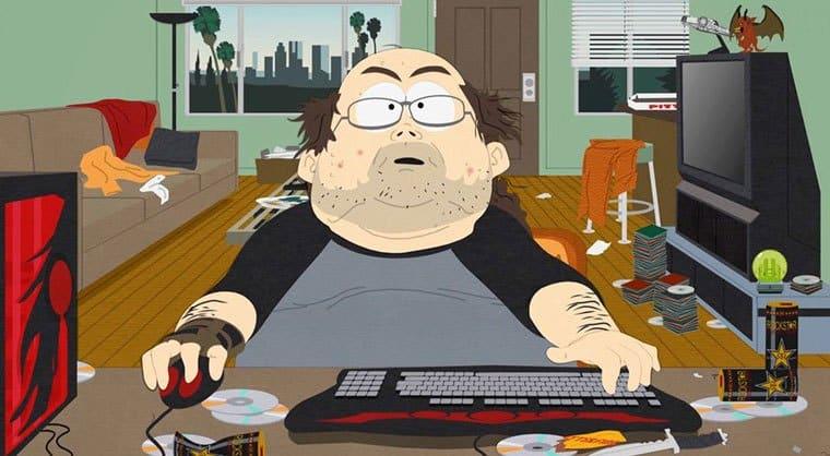 Single man playing video games