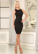 curvy Ukrainian woman in black dress