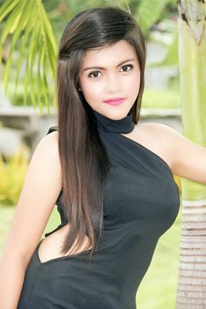 cute Filipina animal lover in black dress